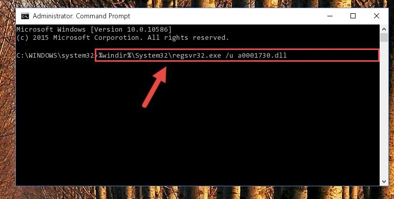 Cleaning the problematic registry of the A0001730.dll file from the Windows Registry Editor