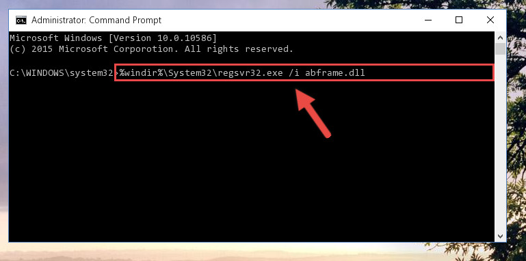Reregistering the Abframe.dll file in the system