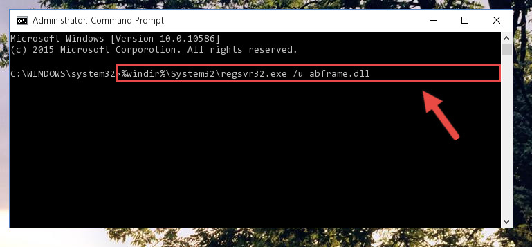 Uninstalling the Abframe.dll file from the system registry