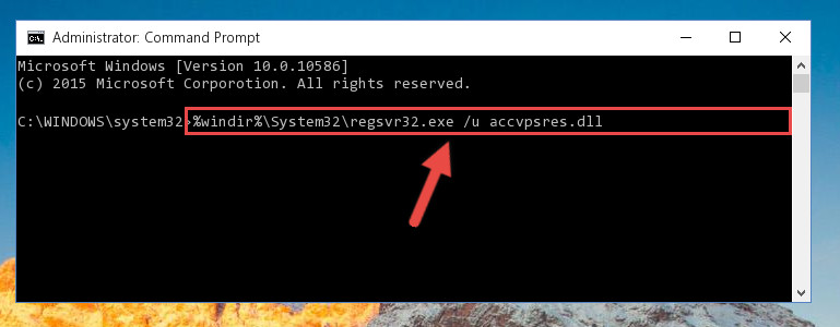 Deleting the damaged registry of the Accvpsres.dll