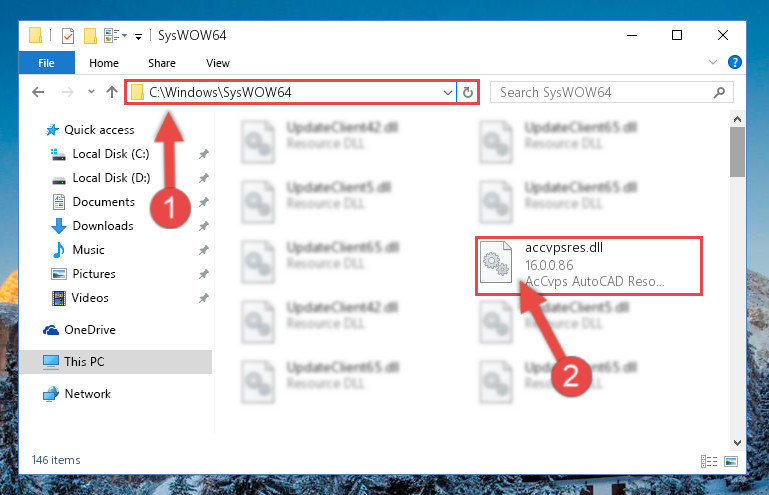 Pasting the Accvpsres.dll file into the Windows/sysWOW64 folder