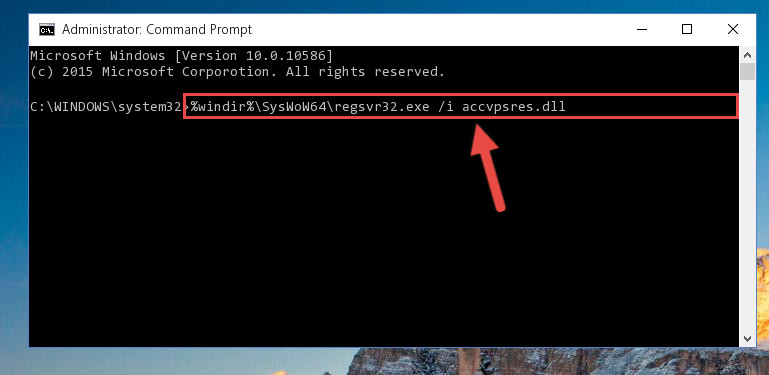 Reregistering the Accvpsres.dll file in the system (for 64 Bit)