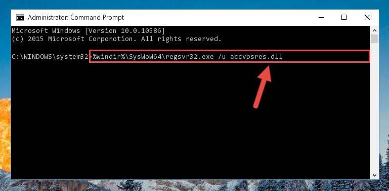 Uninstalling the broken registry of the Accvpsres.dll file from the Windows Registry Editor (for 64 Bit)