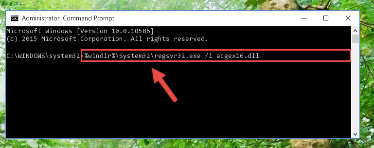 Creating a new registry for the Acgex16.dll file in the Windows Registry Editor