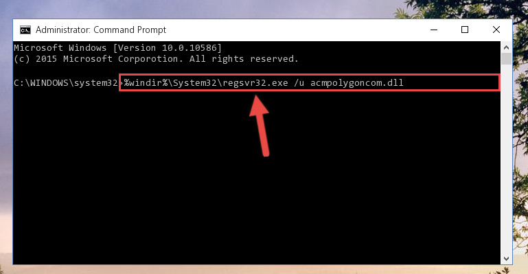 Deleting the damaged registry of the Acmpolygoncom.dll