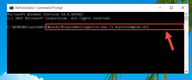 Reregistering the Acpltstampres.dll file in the system