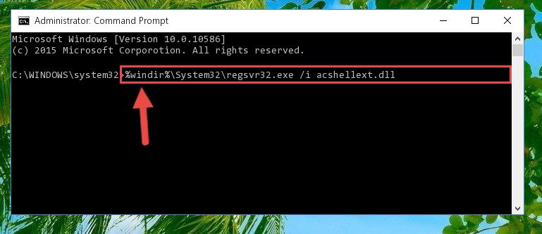 Reregistering the Acshellext.dll file in the system
