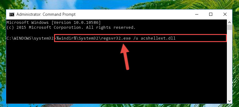 Uninstalling the Acshellext.dll file from the system registry