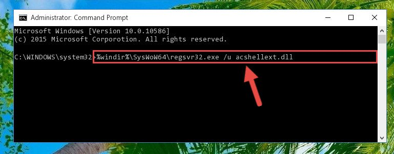 Uninstalling the broken registry of the Acshellext.dll file from the Windows Registry Editor (for 64 Bit)
