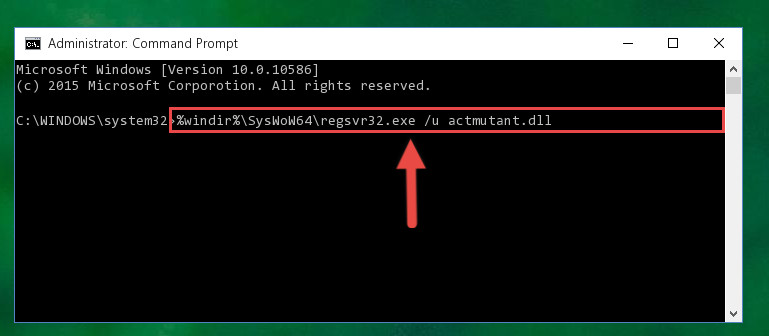 Uninstalling the damaged Actmutant.dll file's registry from the system (for 64 Bit)