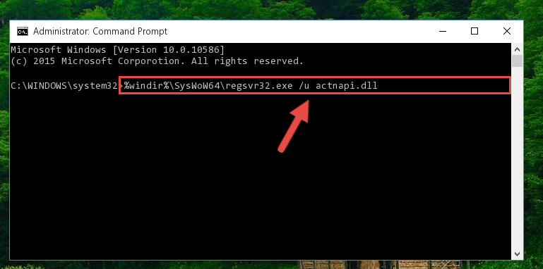 Uninstalling the Actnapi.dll library's broken registry from the Registry Editor <em>(for 64 Bit)</em>