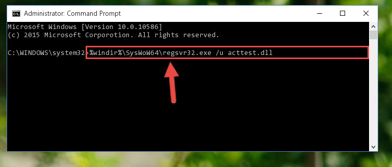 Uninstalling the Acttest.dll file's broken registry from the Registry Editor <em>(for 64 Bit)</em>