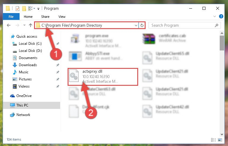 Copying the Actxprxy.dll library into the installation directory of the program.