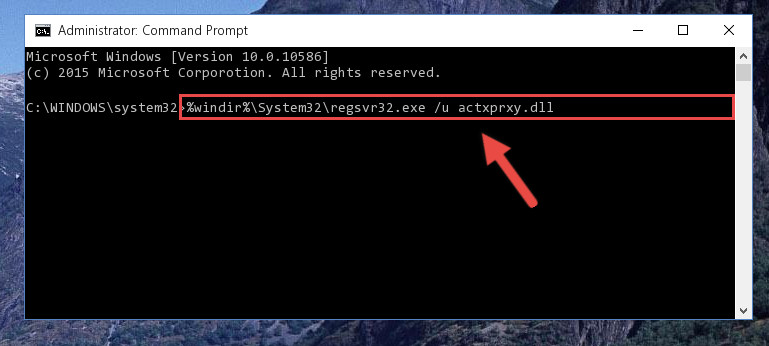 Uninstalling the Actxprxy.dll library from the system registry