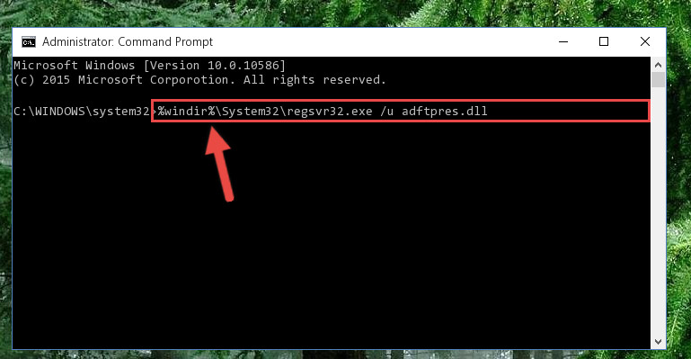 Deleting the damaged registry of the Adftpres.dll