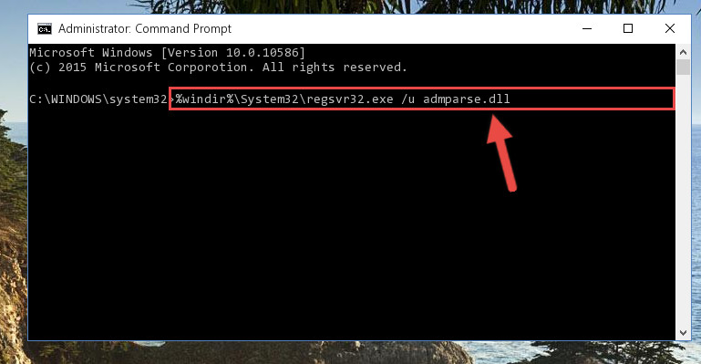 Deleting the damaged registry of the Admparse.dll