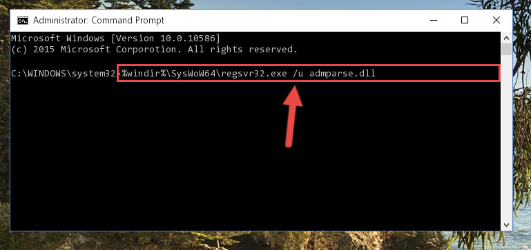 Uninstalling the damaged Admparse.dll library's registry from the system (for 64 Bit)
