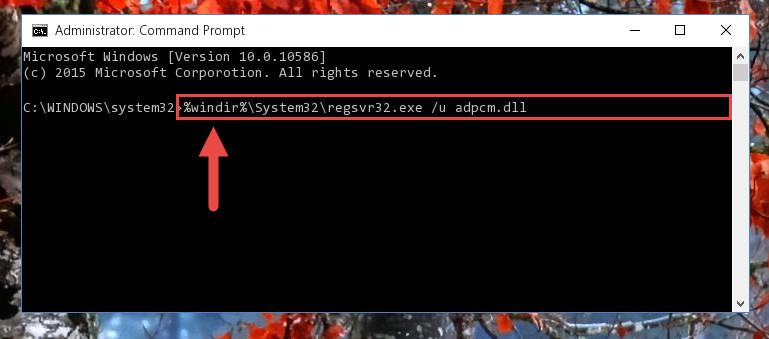 Uninstalling the Adpcm.dll file from the system registry