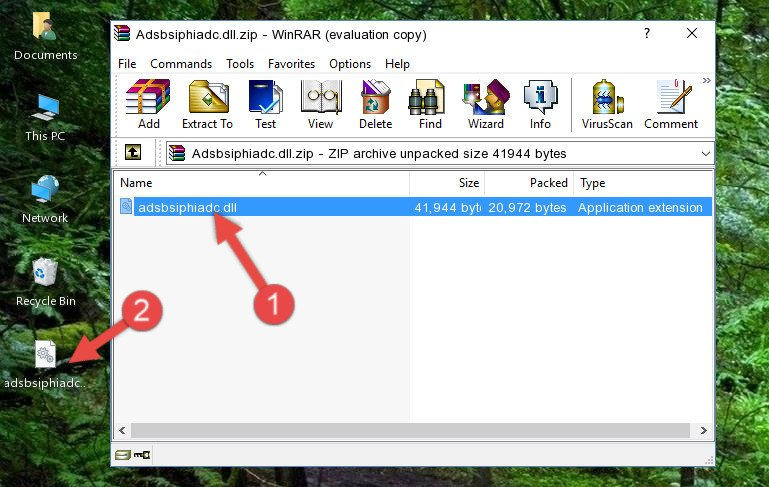 Extracting the Adsbsiphiadc.dll file from the .zip file