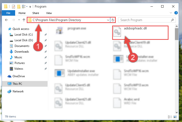 Pasting the Adsbsiphiadc.dll file into the software's file folder