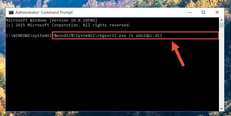 Deleting the Adsldpc.dll file's problematic registry in the Windows Registry Editor