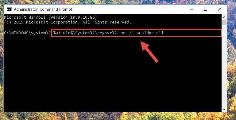 Reregistering the Adsldpc.dll file in the system