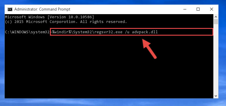 Cleaning the problematic registry of the Advpack.dll file from the Windows Registry Editor