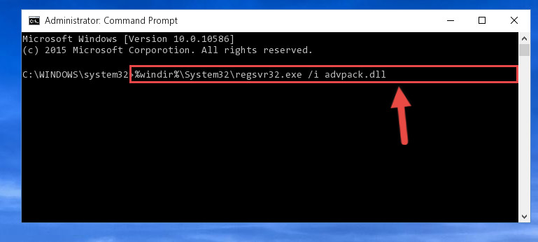 Creating a new registry for the Advpack.dll file in the Windows Registry Editor