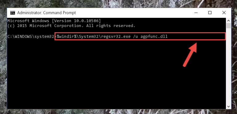Deleting the damaged registry of the Agpfunc.dll