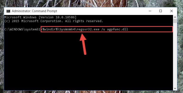 Uninstalling the broken registry of the Agpfunc.dll file from the Windows Registry Editor <em>(for 64 Bit)</em>