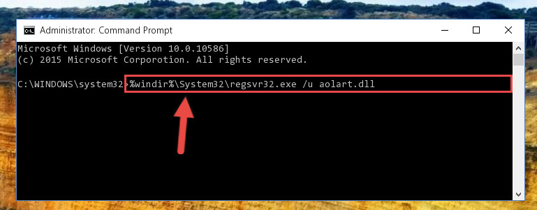Deleting the Aolart.dll library's problematic registry in the Windows Registry Editor