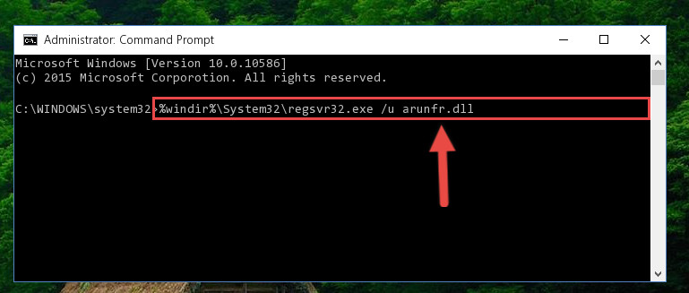 Deleting the damaged registry of the Arunfr.dll