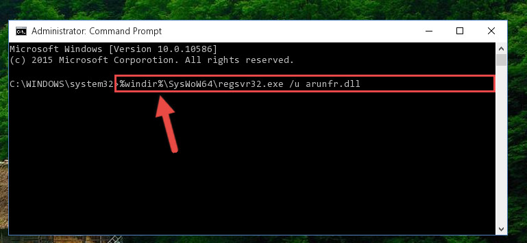 Uninstalling the Arunfr.dll library's problematic registry from Regedit (for 64 Bit)