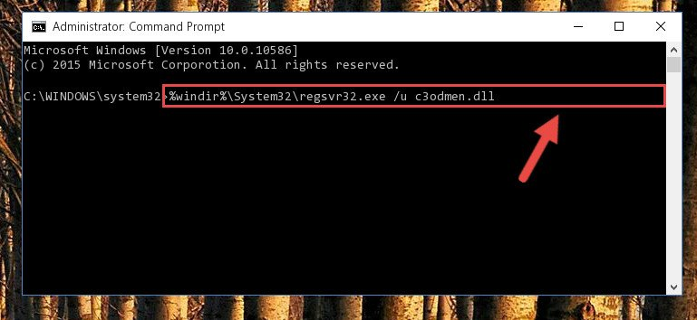 Cleaning the problematic registry of the C3odmen.dll file from the Windows Registry Editor