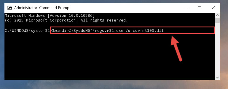 Uninstalling the damaged Cdrfnt100.dll library's registry from the system (for 64 Bit)