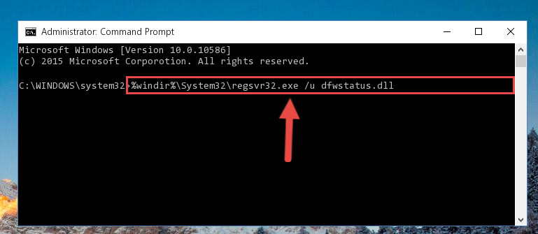 Uninstalling the Dfwstatus.dll file from the system registry