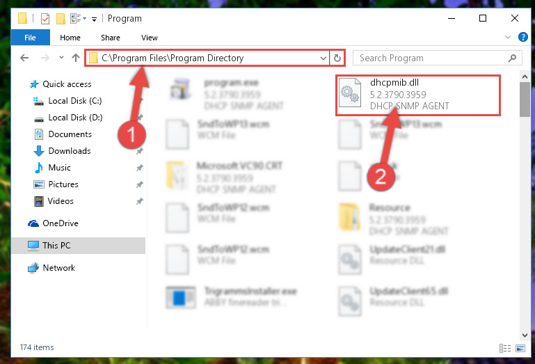 Pasting the Dhcpmib.dll file into the software's file folder