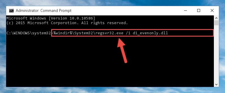 Reregistering the Di_evenonly.dll file in the system