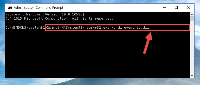 Uninstalling the Di_evenonly.dll file from the system registry