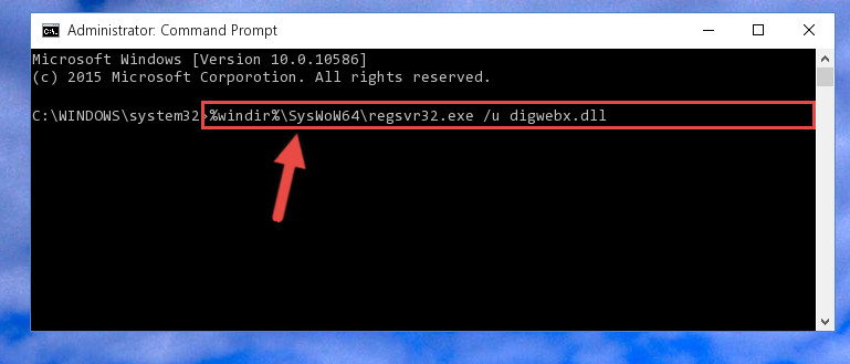 Uninstalling the damaged Digwebx.dll file's registry from the system (for 64 Bit)