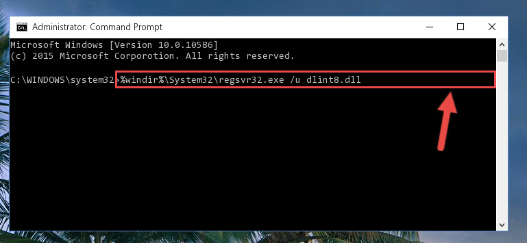 Deleting the damaged registry of the Dlint8.dll