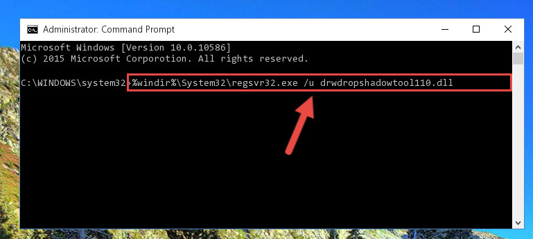 Uninstalling the Drwdropshadowtool110.dll library from the system registry