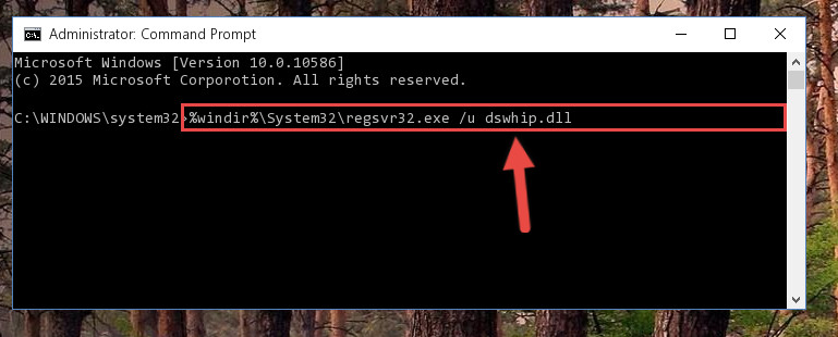 Cleaning the problematic registry of the Dswhip.dll file from the Windows Registry Editor