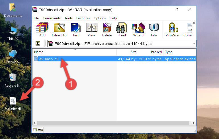 Extracting the E900drv.dll library from the .zip file