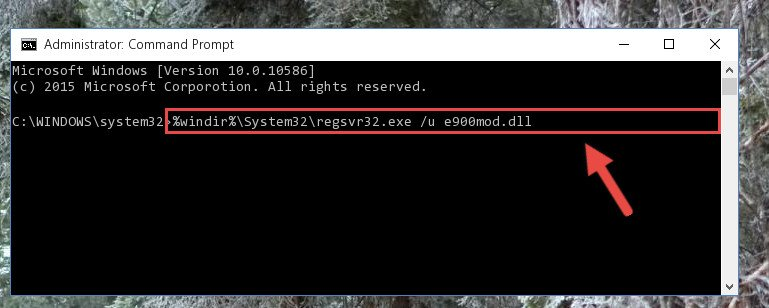 Cleaning the problematic registry of the E900mod.dll file from the Windows Registry Editor