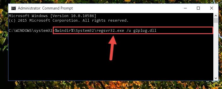 Deleting the G2plug.dll file's problematic registry in the Windows Registry Editor