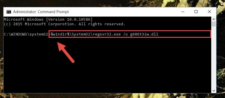 Cleaning the problematic registry of the G606t32w.dll file from the Windows Registry Editor