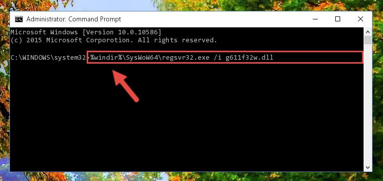 Reregistering the G611f32w.dll library in the system (for 64 Bit)