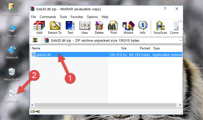 Copying the Gds32.dll file into the software