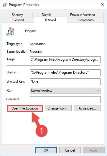Opening the program's installation directory